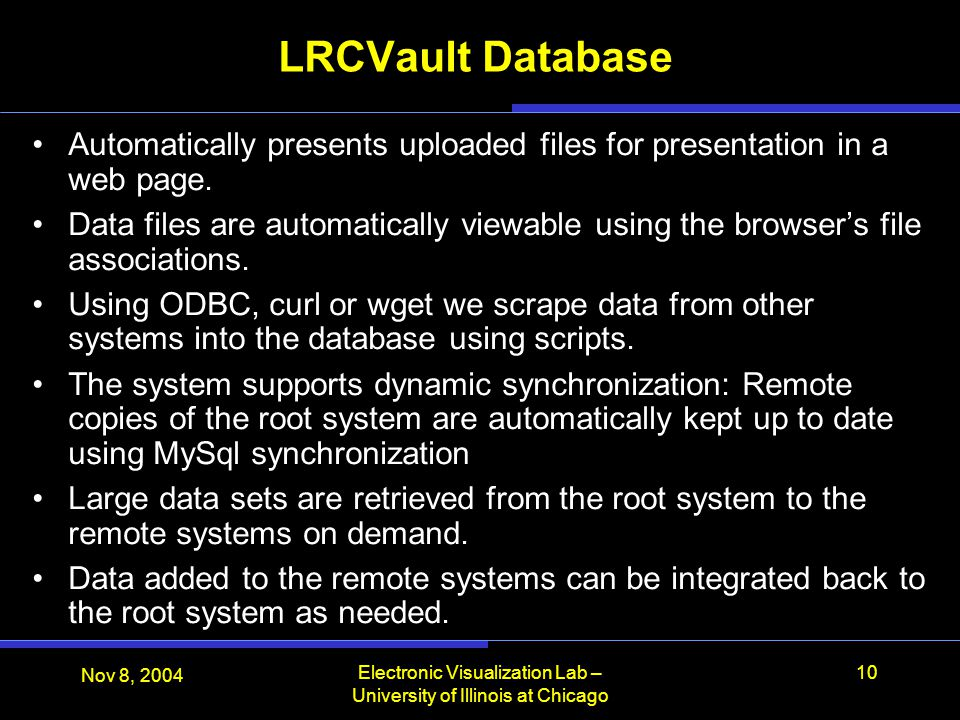 LRCVault Database Automatically presents uploaded files for presentation in a web page.