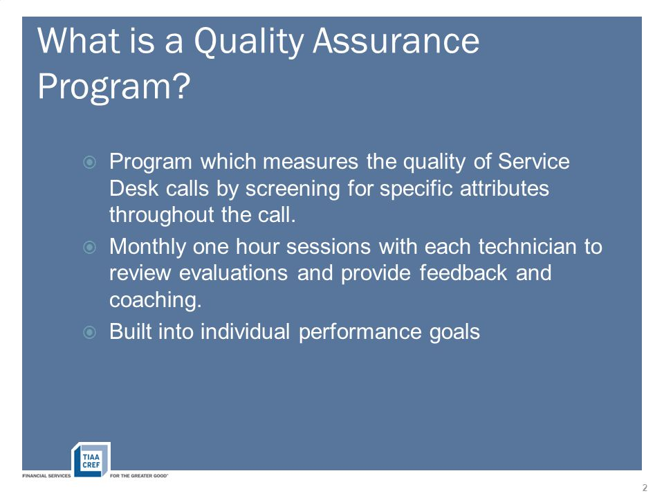 What is a Quality Assurance Program.