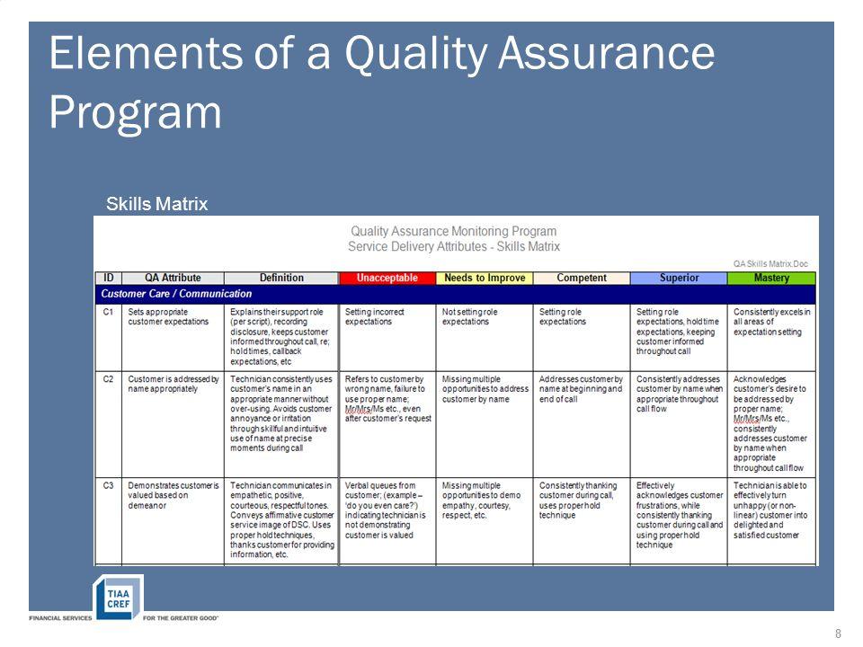 Elements of a Quality Assurance Program Skills Matrix 8