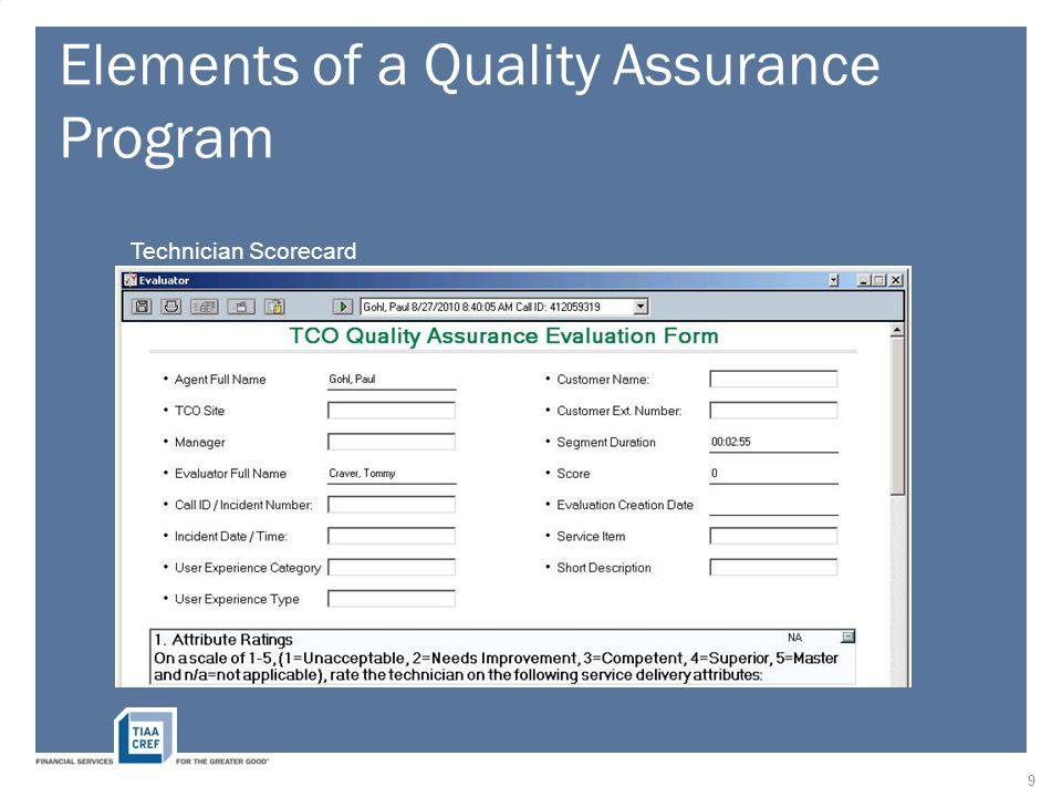Elements of a Quality Assurance Program Technician Scorecard 9