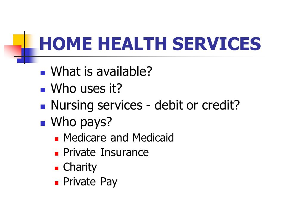 HOME HEALTH SERVICES What is available? Who uses it? Nursing services - debit or credit? Who pays? Medicare and Medicaid Private Insurance Charity Pri