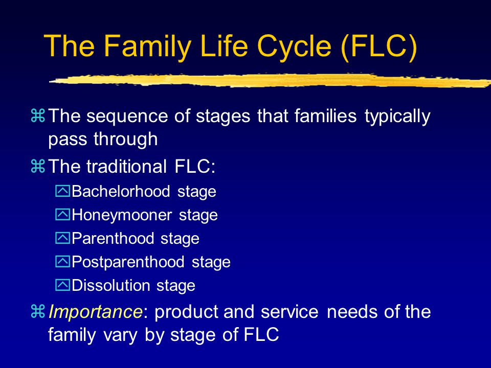 The Family Life Cycle (FLC) zThe sequence of stages that families typically pass through zThe traditional FLC: yBachelorhood stage yHoneymooner stage