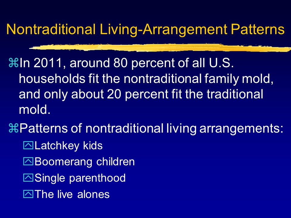 Nontraditional Living-Arrangement Patterns zIn 2011, around 80 percent of all U.S. households fit the nontraditional family mold, and only about 20 pe