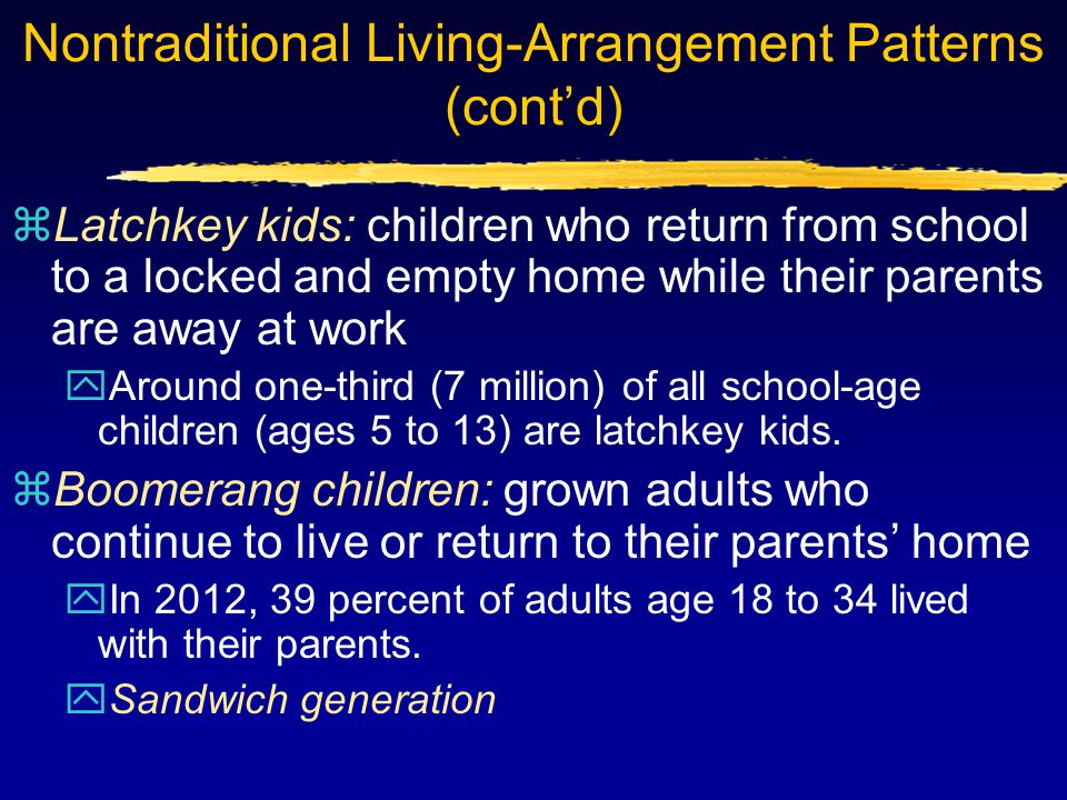 Nontraditional Living-Arrangement Patterns (cont'd) zLatchkey kids: children who return from school to a locked and empty home while their parents are away at work yAround one-third (7 million) of all school-age children (ages 5 to 13) are latchkey kids.