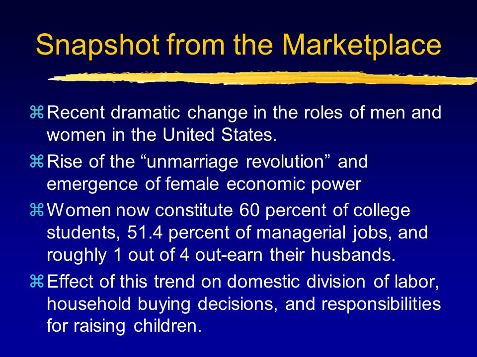 """Snapshot from the Marketplace zRecent dramatic change in the roles of men and women in the United States. zRise of the """"unmarriage revolution"""" and eme"""