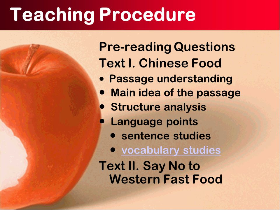 Teaching Procedure Pre-reading Questions Text I.
