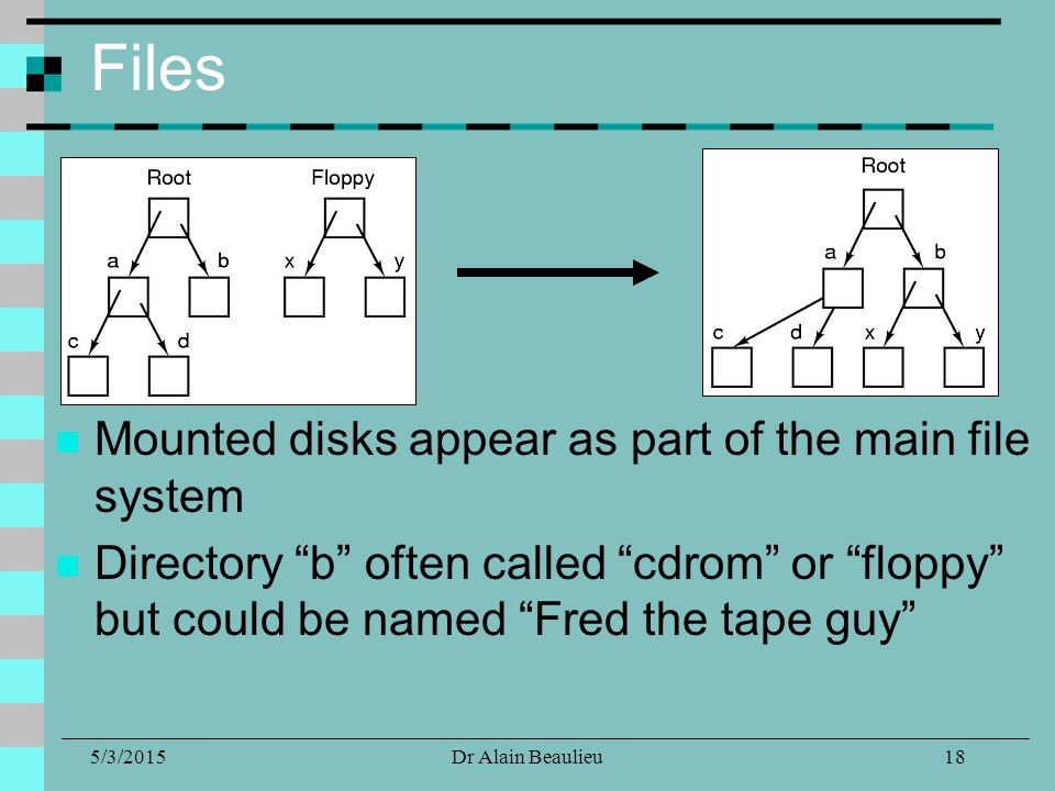5/3/2015Dr Alain Beaulieu Files Mounted disks appear as part of the main file system Directory b often called cdrom or floppy but could be named Fred the tape guy 18