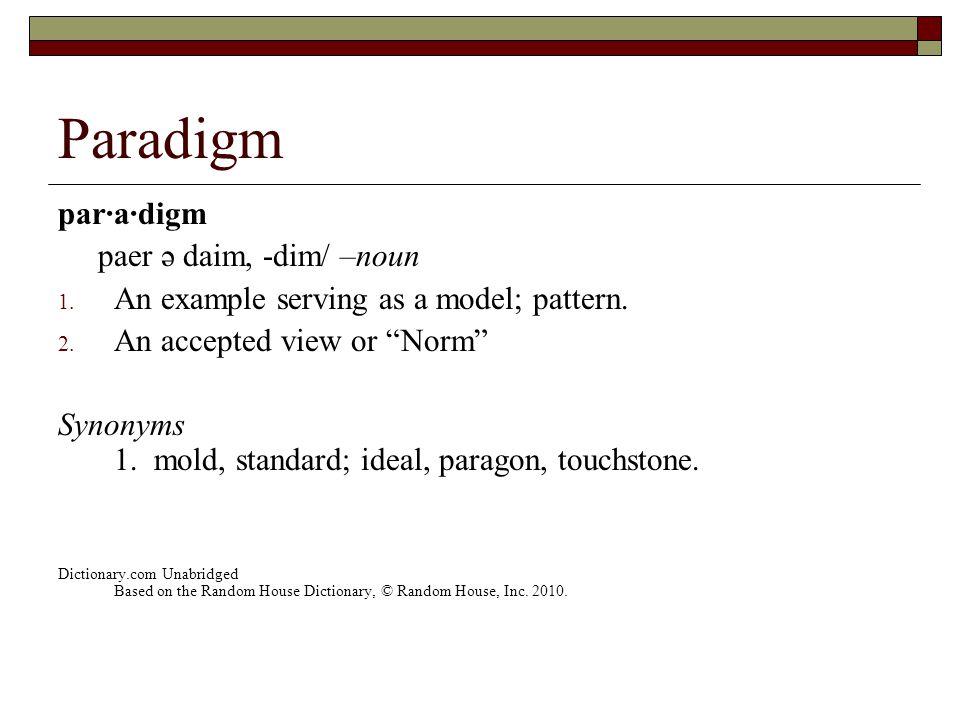 Paradigm par·a·digm paer ə daim, -dim/ –noun 1. An example serving as a model; pattern.