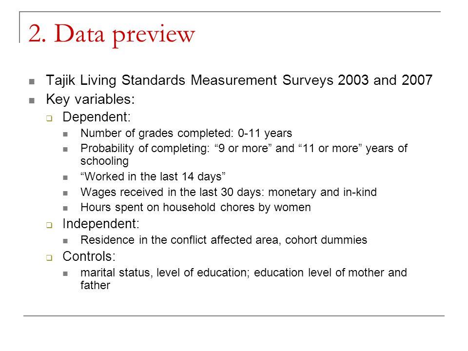 2. Data preview Tajik Living Standards Measurement Surveys 2003 and 2007 Key variables:  Dependent: Number of grades completed: 0-11 years Probabilit