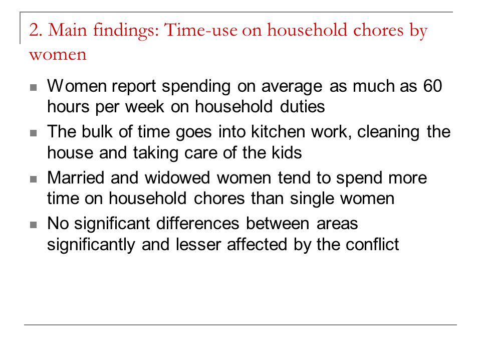 2. Main findings: Time-use on household chores by women Women report spending on average as much as 60 hours per week on household duties The bulk of