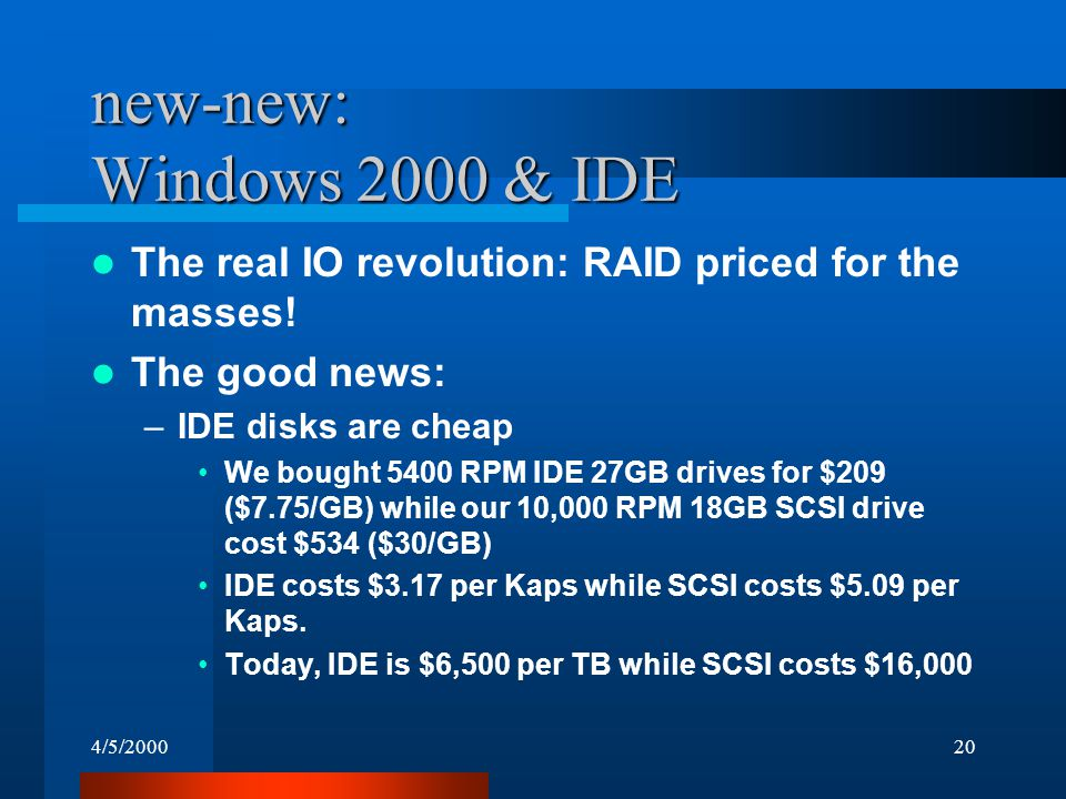 4/5/200020 new-new: Windows 2000 & IDE The real IO revolution: RAID priced for the masses.