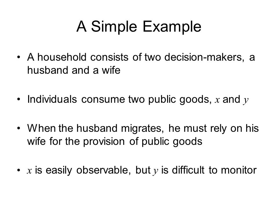 A Simple Example A household consists of two decision-makers, a husband and a wife Individuals consume two public goods, x and y When the husband migrates, he must rely on his wife for the provision of public goods x is easily observable, but y is difficult to monitor