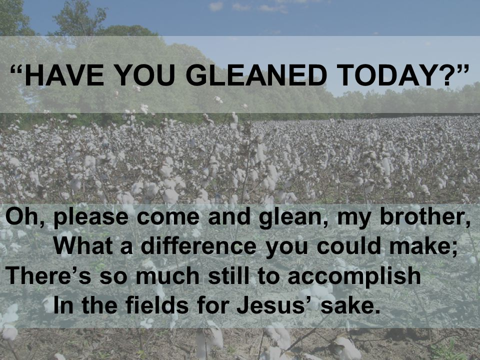 WILL YOU GLEAN TODAY? HERE AM I, LORD, SEND ME!