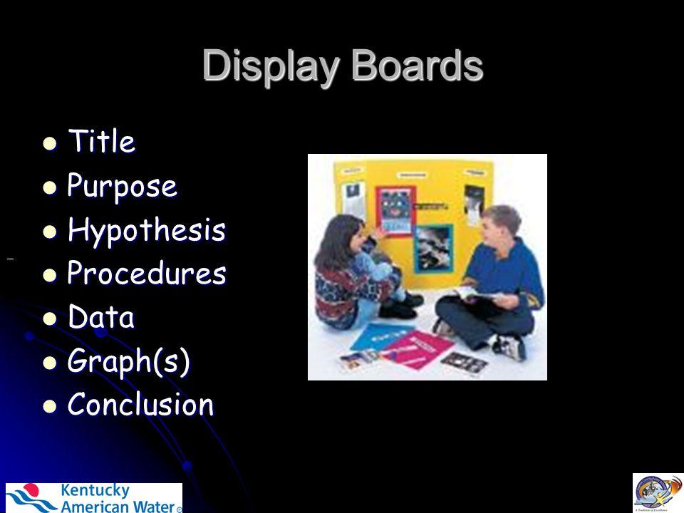 Display Boards Title Title Purpose Purpose Hypothesis Hypothesis Procedures Procedures Data Data Graph(s) Graph(s) Conclusion Conclusion