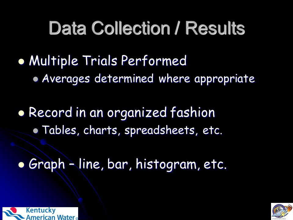 Data Collection / Results Multiple Trials Performed Multiple Trials Performed Averages determined where appropriate Averages determined where appropriate Record in an organized fashion Record in an organized fashion Tables, charts, spreadsheets, etc.