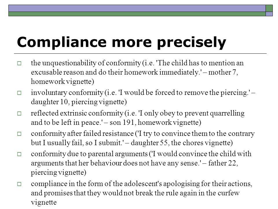Compliance more precisely  the unquestionability of conformity (i.e.