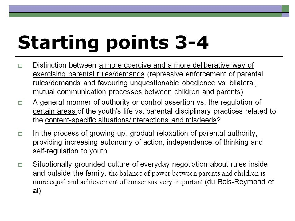 Results of the Interactions in Situations Challenging Parental Authority