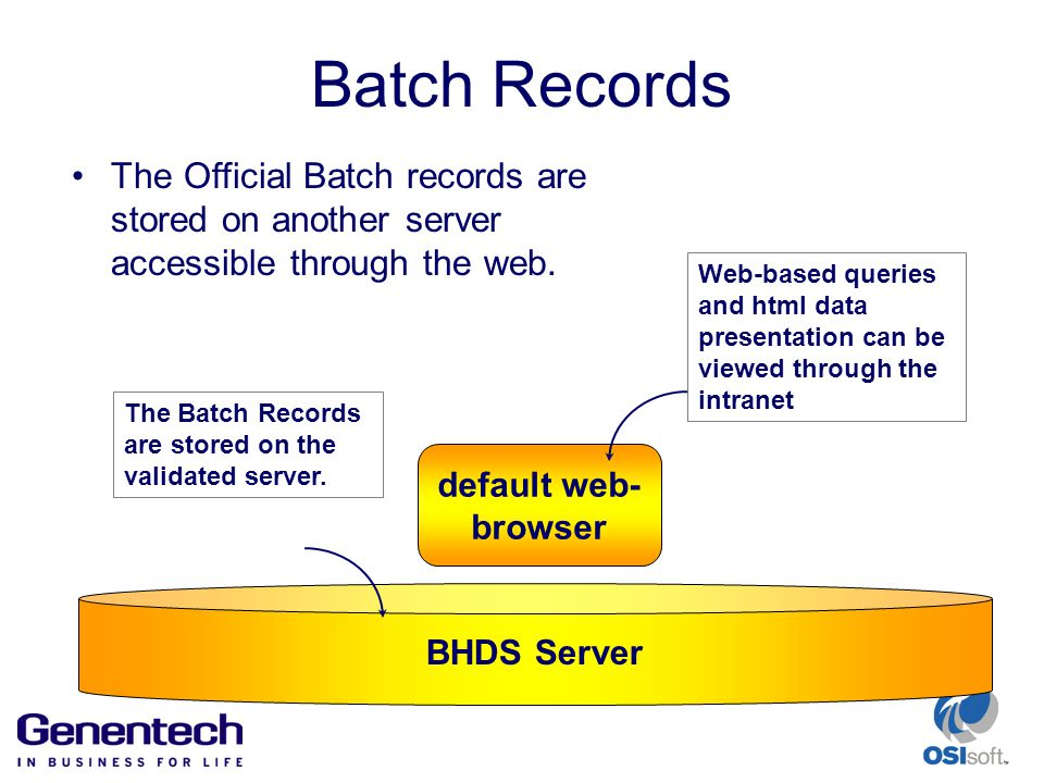 Batch Records default web- browser The Batch Records are stored on the validated server.