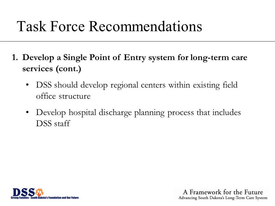Task Force Recommendations 1.Develop a Single Point of Entry system for long-term care services (cont.) DSS should develop regional centers within existing field office structure Develop hospital discharge planning process that includes DSS staff