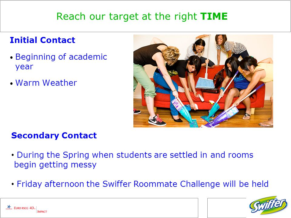 Reach our target at the right TIME Initial Contact Beginning of academic year Warm Weather Secondary Contact During the Spring when students are settled in and rooms begin getting messy Friday afternoon the Swiffer Roommate Challenge will be held