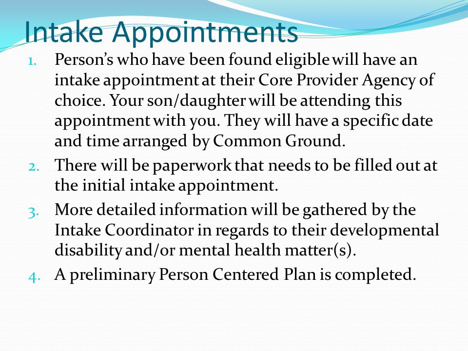 Intake Appointments 1.