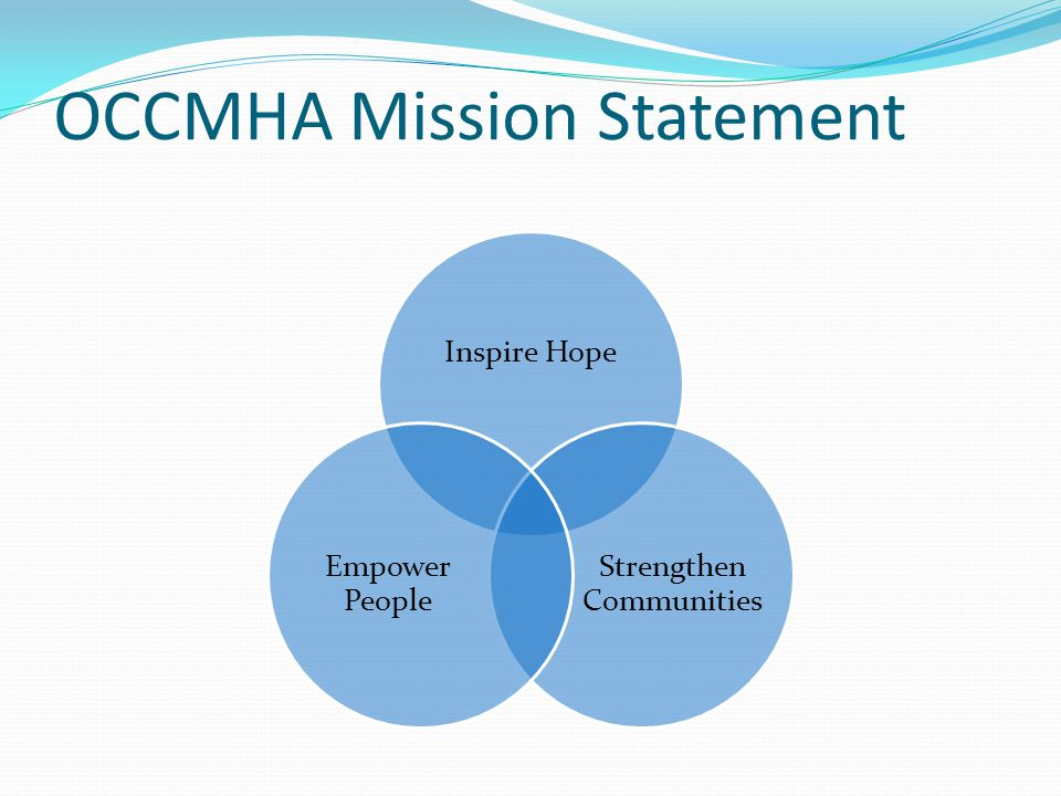 OCCMHA Mission Statement Inspire Hope Strengthen Communities Empower People