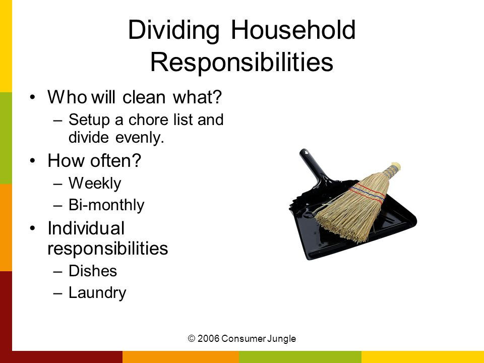 © 2006 Consumer Jungle Dividing Household Responsibilities Who will clean what.