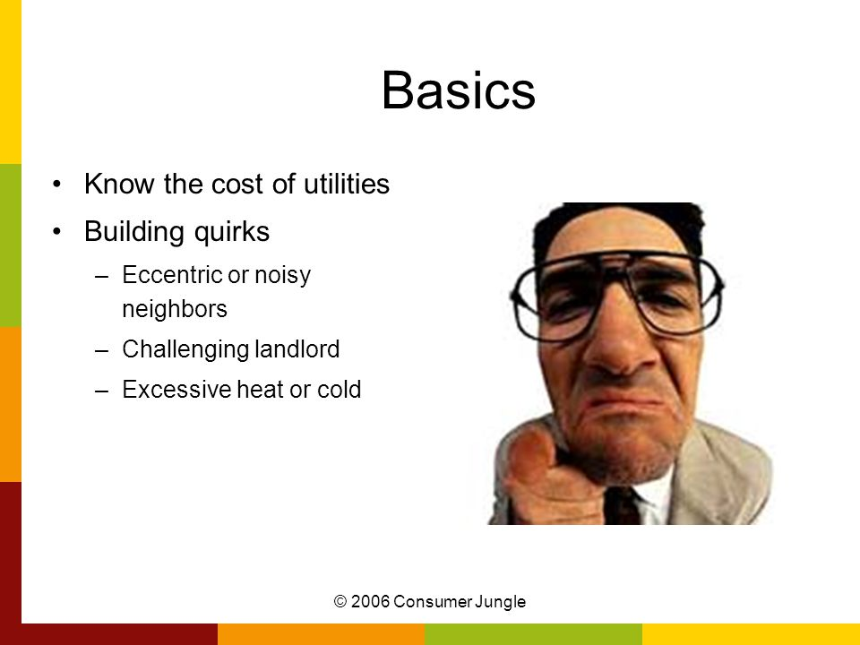 © 2006 Consumer Jungle Basics Know the cost of utilities Building quirks –Eccentric or noisy neighbors –Challenging landlord –Excessive heat or cold