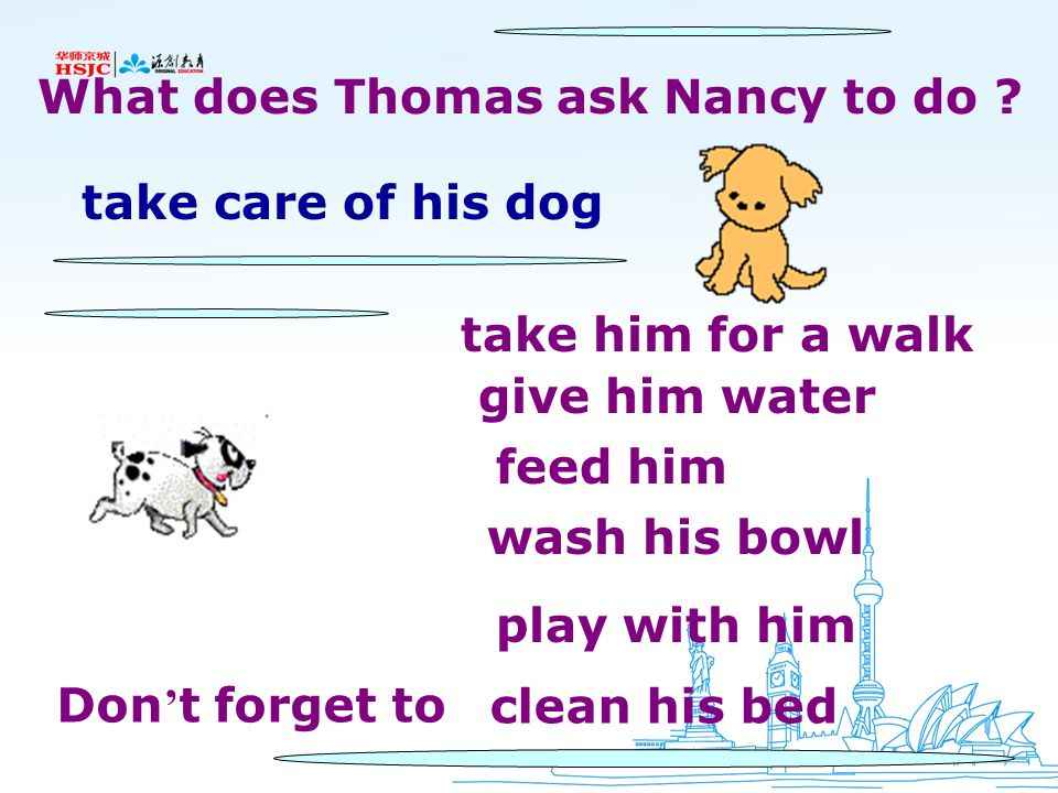 3a Read the e-mail message. Which things are about exercise? Cleaning? Food? Complete the chart below. Nancy, Thanks for taking care of my dog. Could