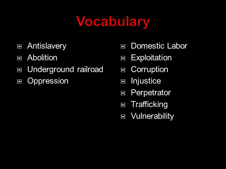  What do you currently know about slavery.