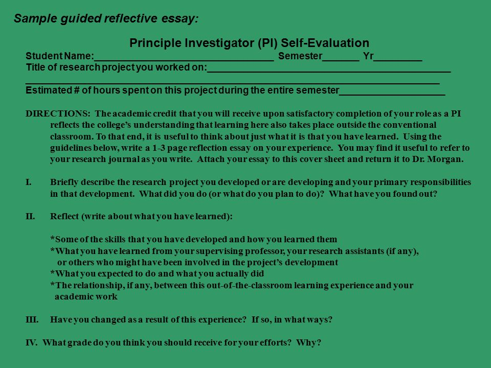 Principle Investigator (PI) Self-Evaluation Student Name:__________________________________ Semester_______ Yr_________ Title of research project you