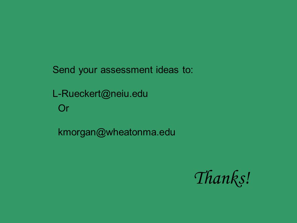Send your assessment ideas to: L-Rueckert@neiu.edu Or kmorgan@wheatonma.edu Thanks!