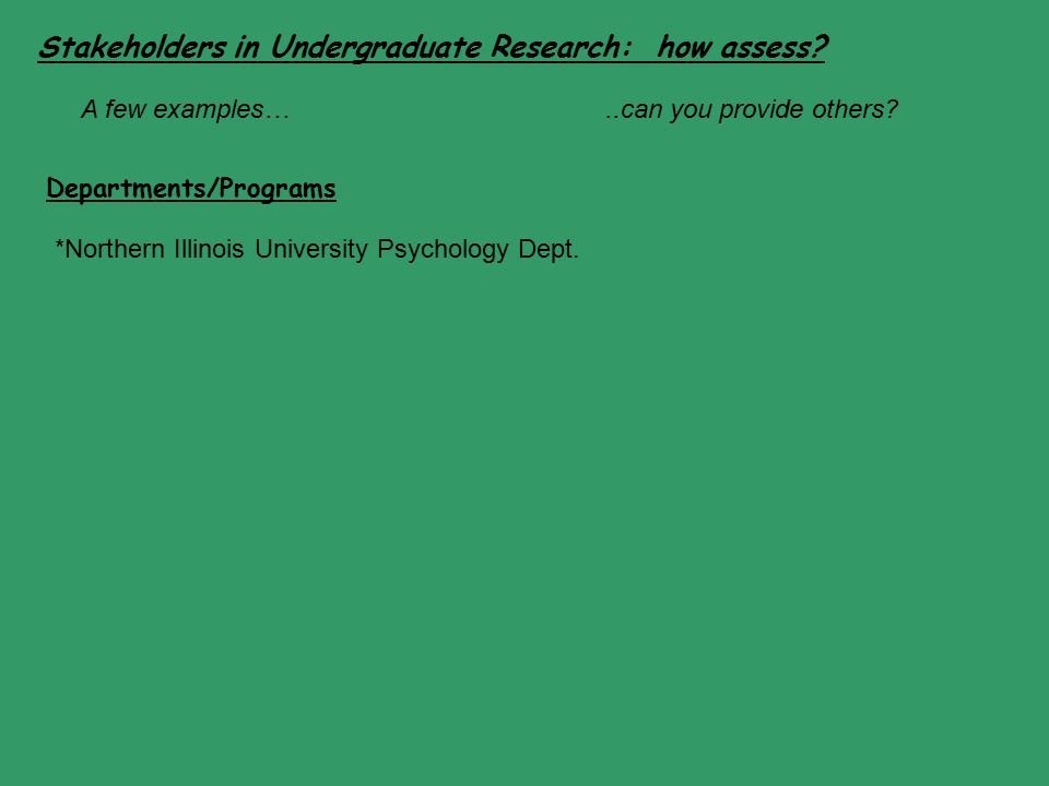 Stakeholders in Undergraduate Research: how assess? Departments/Programs *Northern Illinois University Psychology Dept. A few examples…..can you provi