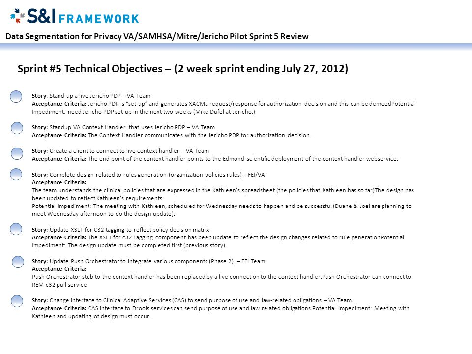 Data Segmentation for Privacy VA/SAMHSA/Mitre/Jericho Pilot Sprint 5 Review Sprint #5 Technical Objectives – (2 week sprint ending July 27, 2012) Story: Stand up a live Jericho PDP – VA Team Acceptance Criteria: Jericho PDP is set up and generates XACML request/response for authorization decision and this can be demoedPotential Impediment: need Jericho PDP set up in the next two weeks (Mike Dufel at Jericho.) Story: Standup VA Context Handler that uses Jericho PDP – VA Team Acceptance Criteria: The Context Handler communicates with the Jericho PDP for authorization decision.