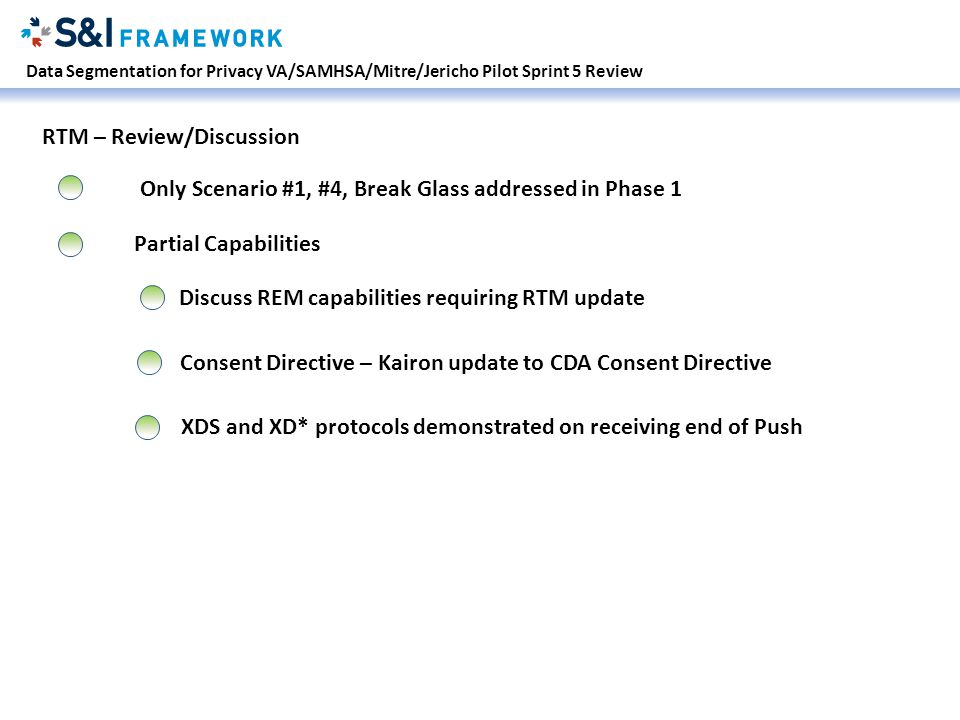 Data Segmentation for Privacy VA/SAMHSA/Mitre/Jericho Pilot Sprint 5 Review RTM – Review/Discussion Only Scenario #1, #4, Break Glass addressed in Phase 1 Partial Capabilities Discuss REM capabilities requiring RTM update Consent Directive – Kairon update to CDA Consent Directive XDS and XD* protocols demonstrated on receiving end of Push