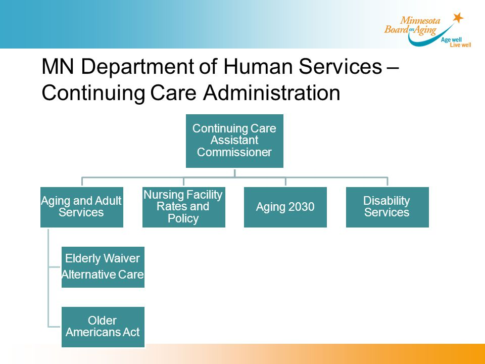 MN Department of Human Services – Continuing Care Administration Continuing Care Assistant Commissioner Aging and Adult Services Elderly Waiver Alternative Care Older Americans Act Nursing Facility Rates and Policy Aging 2030 Disability Services