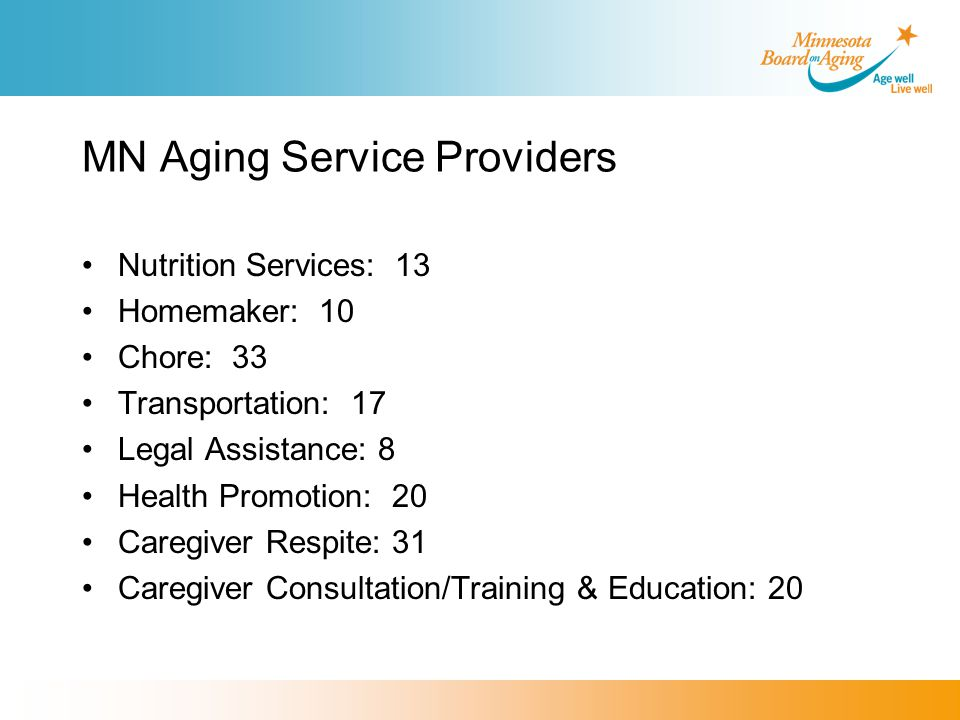 MN Aging Service Providers Nutrition Services: 13 Homemaker: 10 Chore: 33 Transportation: 17 Legal Assistance: 8 Health Promotion: 20 Caregiver Respite: 31 Caregiver Consultation/Training & Education: 20