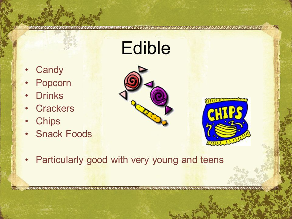 Edible Candy Popcorn Drinks Crackers Chips Snack Foods Particularly good with very young and teens