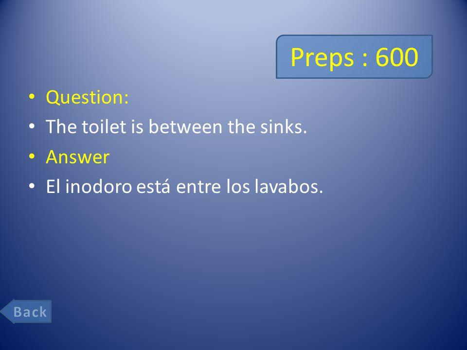Preps : 600 Question: The toilet is between the sinks. Answer El inodoro está entre los lavabos.