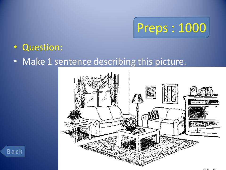 Preps : 1000 Question: Make 1 sentence describing this picture.