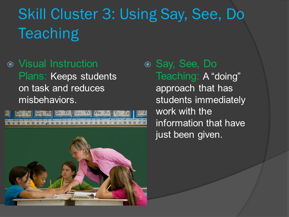 Skill Cluster 3: Using Say, See, Do Teaching  Say, See, Do Teaching: A doing approach that has students immediately work with the information that have just been given.