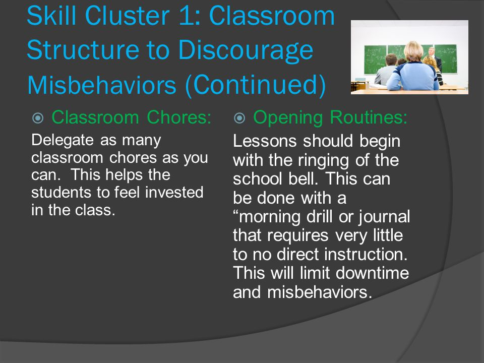 Skill Cluster 1: Classroom Structure to Discourage Misbehaviors (Continued)  Classroom Chores: Delegate as many classroom chores as you can.