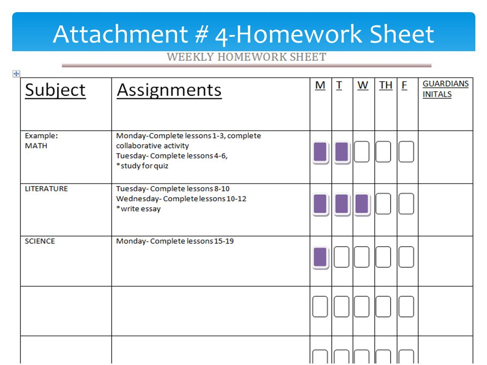 Attachment # 4-Homework Sheet