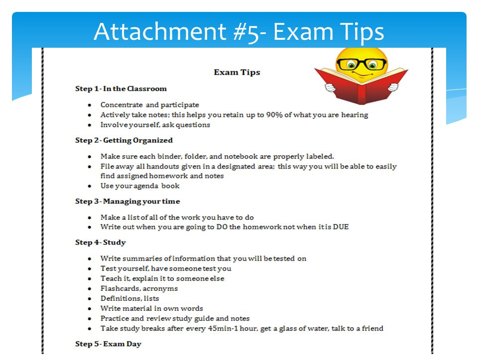 Attachment #5- Exam Tips