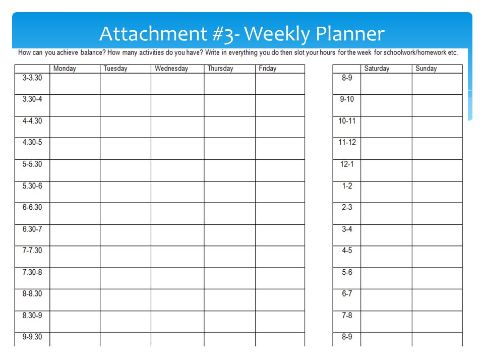Attachment #3- Weekly Planner