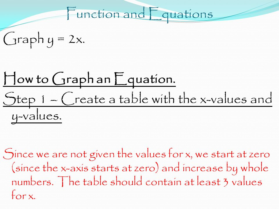 Function and Equations Graph y = 2x. How to Graph an Equation. Step 1 – Create a table with the x-values and y-values. Since we are not given the valu