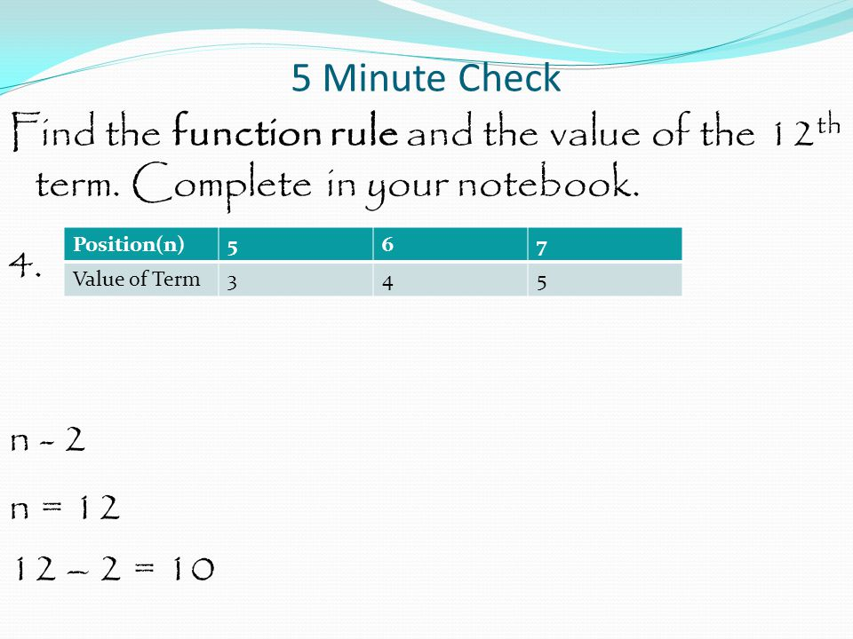 Function and Equations Write an equation to represent the function shown in the table.