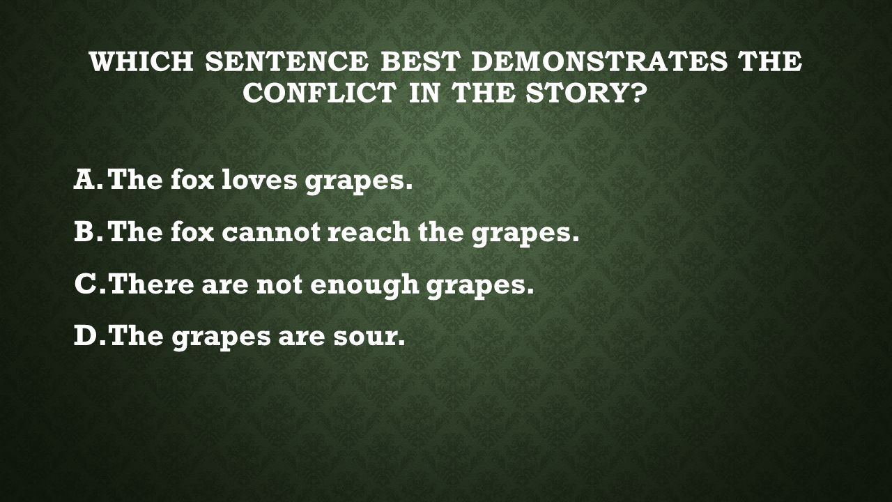 B.THE FOX CANNOT REACH THE GRAPES. This is the main problem in the fable.