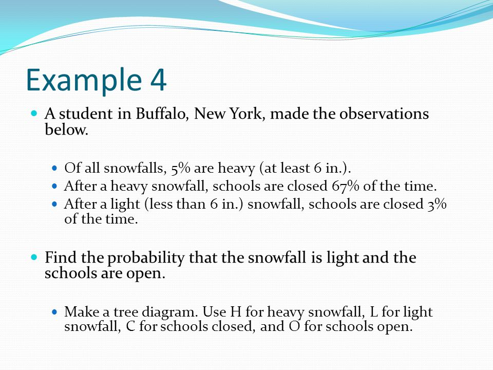 Example 4 A student in Buffalo, New York, made the observations below.