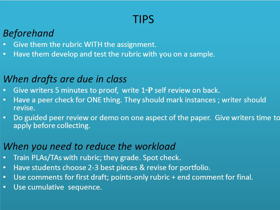 TIPS Beforehand Give them the rubric WITH the assignment.